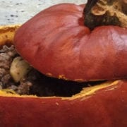 Wild Rice Turkey Biryani Stuffed Whole Pumpkin
